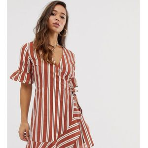 Boohoo wrap mini dress with frill detail in stripe - Multi