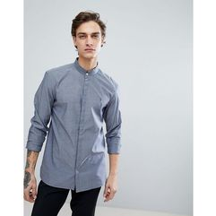 AllSaints Grandad Collar Shirt In Indigo Blue With Logo - Navy, kolor szary
