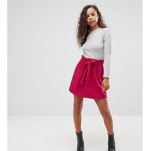 textured mini skater skirt with paperbag waist and belt - purple marki Asos petite