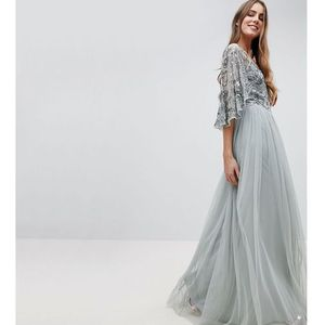 Maya Tall Sequin Cape Tulle Skirt Maxi Bridesmaid Dress - Green