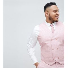 plus wedding skinny suit waistcoat in pink cross hatch with printed lining - pink marki Asos design