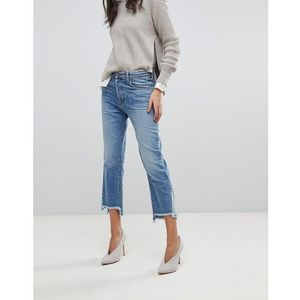 J brand wynne crop straight leg jean with raw hem - blue