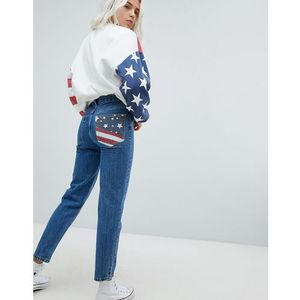 Pull&bear usa flag mom jeans - navy