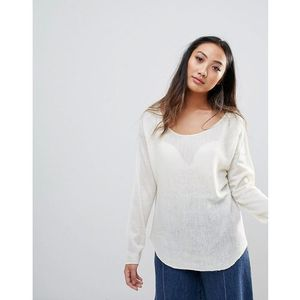 h.One Wool Mix Relaxed Scoop Knit Jumper - White, wełna