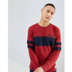 Abercrombie & fitch varsity chest stripe lightweight sweatshirt in red - red
