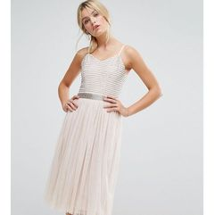midi cami strap dress with tulle skirt and embellished upper - brown marki Amelia rose