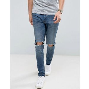 Brave Soul Skinny Fit Raw Hem Distressed Jeans - Blue, kolor niebieski
