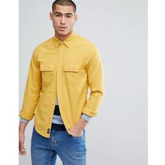Abercrombie & Fitch Chamois Cotton Shirt Regular Fit in Yellow - Yellow, w 2 rozmiarach