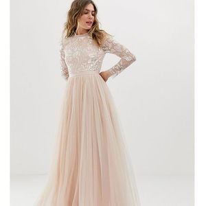 embellished long sleeve maxi dress with tulle skirt in rose quartz - pink marki Needle & thread