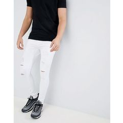 super skinny jeans in white with distressing - white, 11 degrees