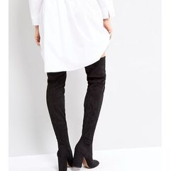 ASOS KATCHER PETITE Heeled Over The Knee Boots - Black