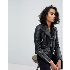 Allsaints quilted leather jacket with faux fur collar - black