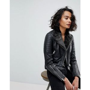 quilted leather jacket with faux fur collar - black marki Allsaints