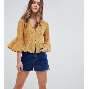 Glamorous Petite Top With Button Front And Peplum Hem In Floral - Yellow