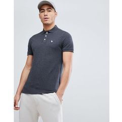 stretch pique slim fit polo icon moose logo in charcoal marl - grey, Abercrombie & fitch, XS-S
