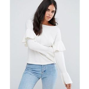 jumper with frill sleeve detail - white marki Amy lynn