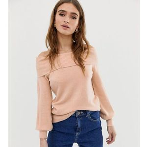 River Island Petite off the shoulder jumper in pink - Pink