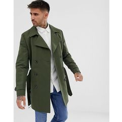 shower resistant double breasted trench in khaki - green, Asos design, XXS-XXXL
