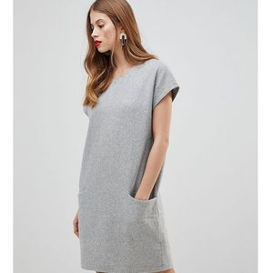 wool mini dress with oversized pockets in grey - grey, Y.a.s, 36-42