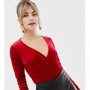 New look wrap velvet body with long sleeves in red - red