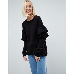 Brave Soul Tulip Jumper With Double Frill Sleeve - Black, kolor czarny