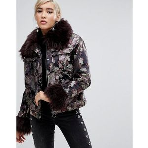 Lost Ink Jacket In Metallic Brocade With Faux Fur Trim - Multi