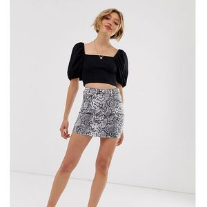 Parisian Petite denim skirt in snake print - Multi