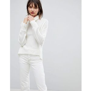 relaxed high neck wool blend jumper - white marki H.one