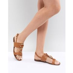 ALDO Two Part Flat Sandal with Metal Detail - Tan