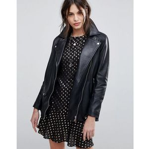 Lab longline leather jacket with belt - black marki Lab leather