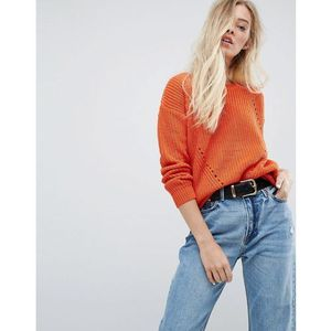 Brave Soul Twister Chunky Jumper - Orange, 1 rozmiar
