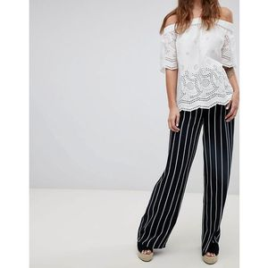 stripe wide leg trousers - navy, Esprit