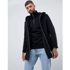 wool mix hooded overcoat in black - black, Asos design, XXS-L