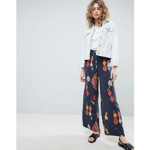 wide leg trousers in graphic print - blue, Weekday