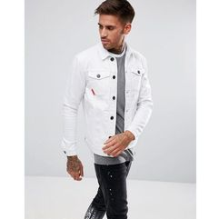 11 degrees muscle denim jacket in white - white
