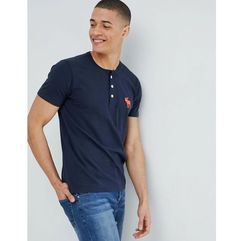 Abercrombie & Fitch large icon logo henley t-shirt in navy - Navy