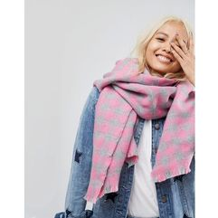 ASOS Oversized Square Scarf In Gingham Check - Pink