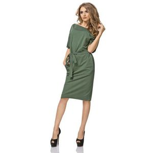 2d2b005357 Zielona sukienka kimonowa midi z paskiem