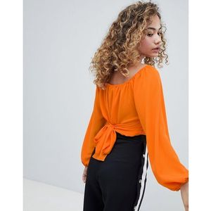 wrap front cropped blouse with tie back in orange - multi marki Miss selfridge