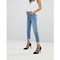 7 For All Mankind Josefina High Waist Boyfriend Jeans With Distressed Waist and Hem - Blue, kolor niebieski