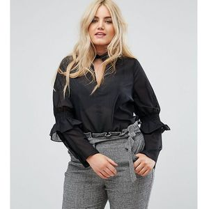 Lost ink plus top with collar and frill sleeve - black
