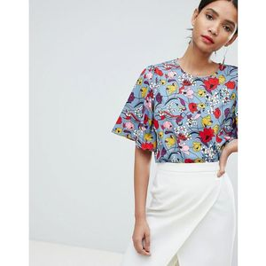 Y.A.S Bold Floral Top With Kimono Sleeve - Multi, 1 rozmiar