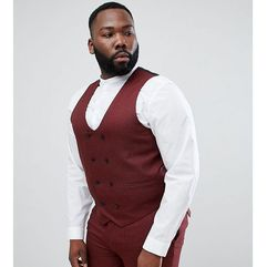 plus wedding skinny suit waistcoat in wine micro texture - red marki Asos design
