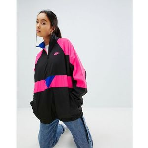 Nike vaporwave oversized wave half zip track jacket in black with colour block - black
