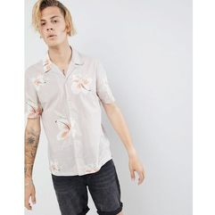 AllSaints short sleeve revere shirt with hawaiian floral print - Grey
