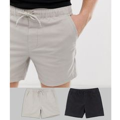 2 pack skinny shorter chino shorts with elastic waist in beige & black save - multi, Asos design