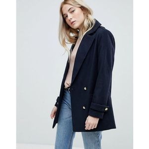 formal pea coat with gold buttons - blue marki New look
