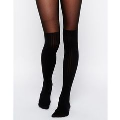 rib over the knee tights - black marki Asos