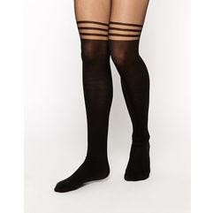 ASOS 3 Stripe Over The Knee Tights With Support - Black