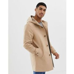 hooded trench coat with shower resistance in stone - stone, Asos design, XXS-XXXL